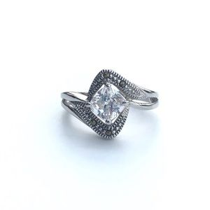 Clear CZ Swiss Marcasite Rhodium Plated Brass Ring